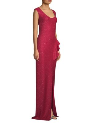 ST. JOHN Inlaid Sequin Knit Ruffle Gown