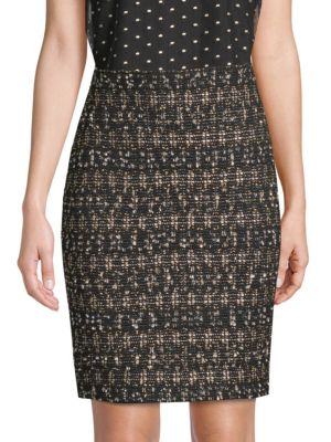 Gilded Tweed Pencil Skirt