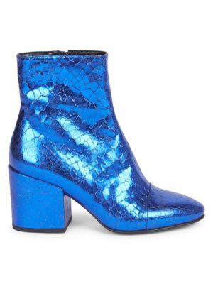 DRIES VAN NOTEN Metallic Leather Block-Heel Booties