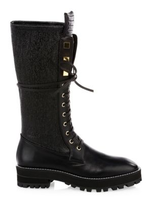 Elspeth Lace-Up Leather Knee-High Combat Boots