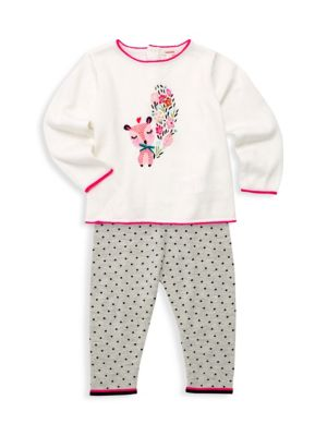 Baby Girl's Two-Piece Knit Sweater & Spotty Pants Set