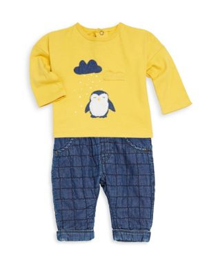 Baby Boy's Long-Sleeve Penguin Tee and Check Jeans Set