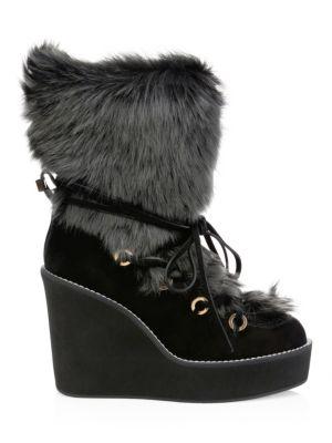 Nikita Fur-Trim Suede Platform Boots
