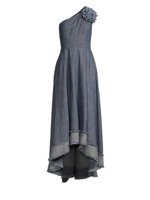 Found In Translation Belair Chambray One-Shoulder Midi Dress