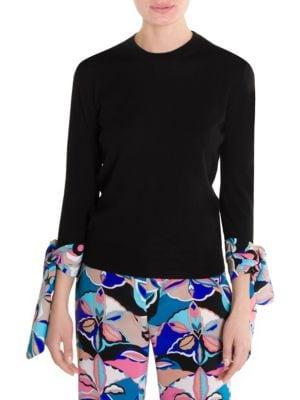 Cashmere & Silk Scarf Cuff Sweater