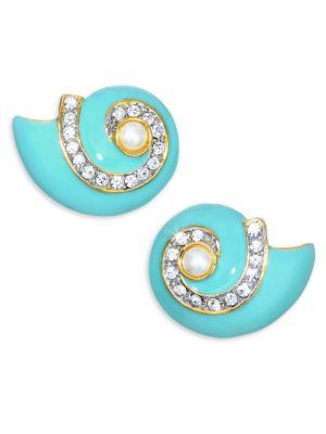 KENNETH JAY LANE Faux Pearl Snail Clip-On Earrings