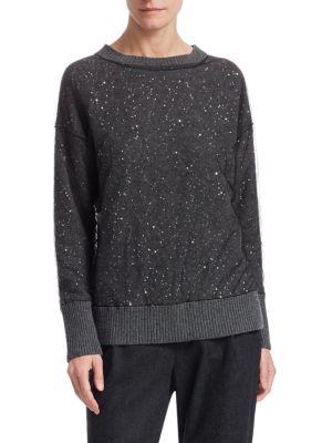 Tulle Overlay Sequin Sweater