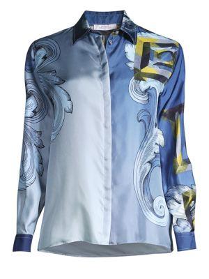 Long Sleeve Printed Silk Shirt