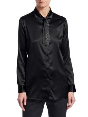 Brilliant Neck-Tie Silk Shirt