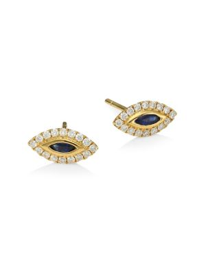 18K Yellow Gold, Diamond & Blue Sapphire Evil Eye Stud Earrings