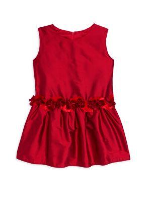 Little Girl's Roses Drop Waist Silk A-Line Dress