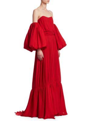 Senora Maria Rosa Balloon-Sleeve Maxi Dress