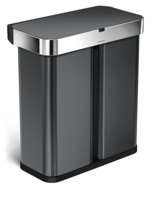 58L Dual Compartment Rectangular Sensor Trash Can With Voice & Motion Control