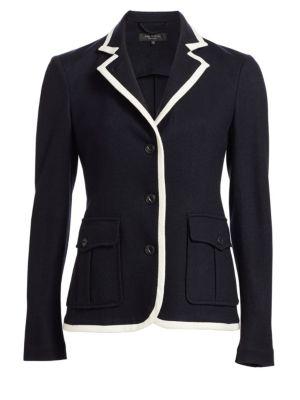 Uni Contrast Piping Wool Blazer