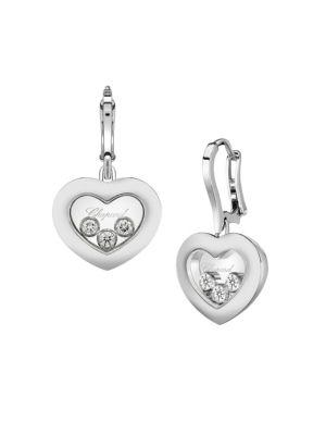 CHOPARD 18K White Gold Happy Diamonds Earrings