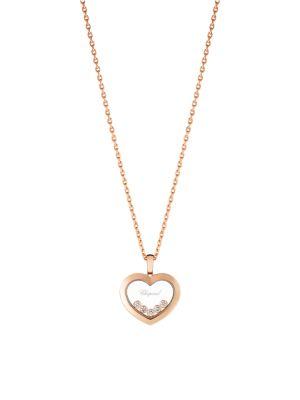 CHOPARD Happy Hearts Diamond & 18K Rose Gold Pendant Necklace