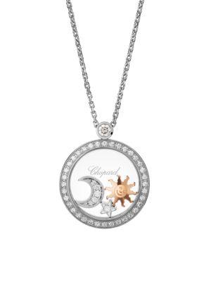 CHOPARD Happy 18K White Gold & Diamond Movable Charm Pendant Necklace