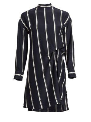 Jacklin Silk Asymmetric Striped Shift Dress