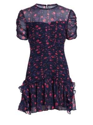 TANYA TAYLOR Carti Pleated Floral Mini Dress