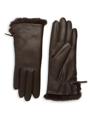 Aliette Rabbit Fur-Lined Leather Gloves