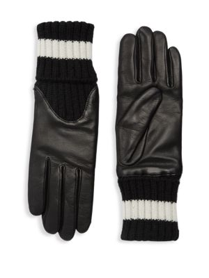 AGNELLE Cecelia Sport Leather Knit Gloves