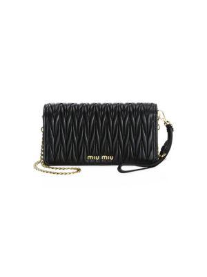 Mini Matelassé Leather Wristlet
