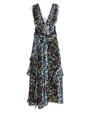 TANYA TAYLOR Angie Silk Ruffle Dress