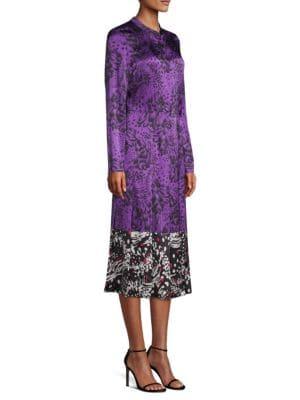 Dillasa Splatter Print Silk Midi-Dress