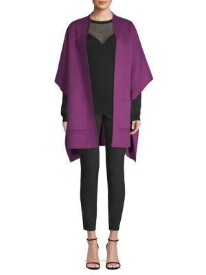 Wool & Cashmere Open-Front Poncho