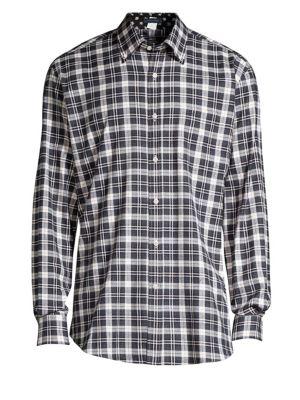 Cotton Check Button-Down Shirt