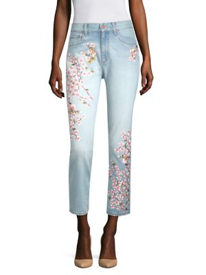 AO.LA BY ALICE + OLIVIA | High-Rise Embroidered Ankle Jeans | Goxip