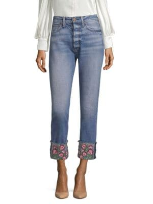 AO.LA BY ALICE + OLIVIA | Amazing High-Rise Embroidered Girlfriend Jeans | Goxip
