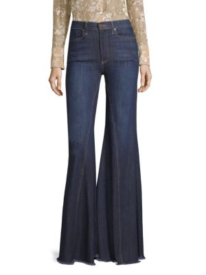 High-Rise Exaggerated Ruffle Hem Jeans