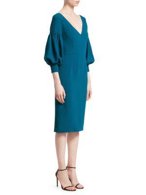 Puff-Sleeve Sheath Dress