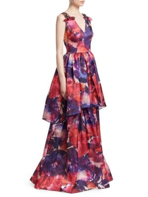 DAVID MEISTER V-NECK SLEEVELESS FLORAL-PRINT TIERED EVENING GOWN W/ BEADED STRAPS