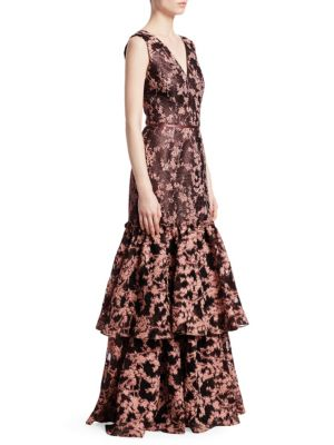 DAVID MEISTER Jacquard Floral Tiered Ruffle Gown