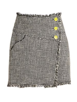 TANYA TAYLOR Monti Tweed Fringe Skirt