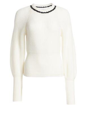 TANYA TAYLOR Ingrid Wool Balloon Sleeve Sweater
