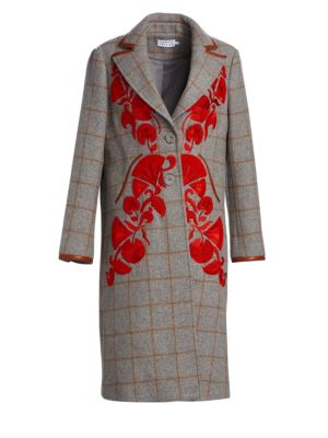 Embroidered Plaid Trench Coat
