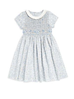 Little Girl's Floral-Print Smock Dress