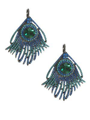 KENNETH JAY LANE Crystal Peacock Earrings