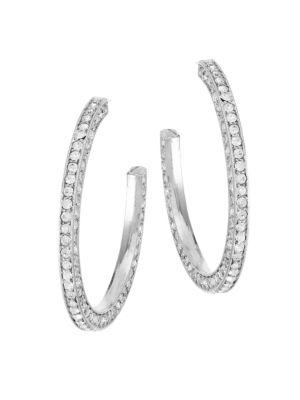 """KENNETH JAY LANE Crystal Rhodium Hoop Earrings/2"""""""