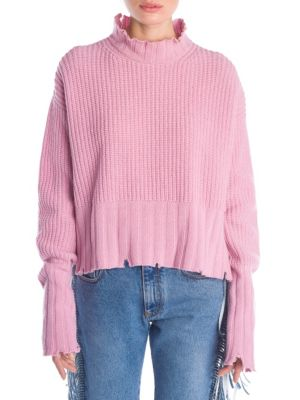 Destroyed Waffle Knit Sweater