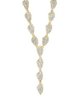 KENNETH JAY LANE Crystal Leaf Y-Necklace
