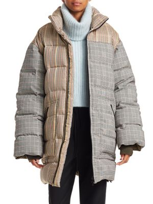 Reversible Check Oversize Down Coat