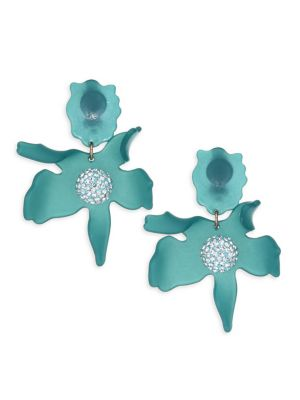 Crystal Lily Clip-On Earrings