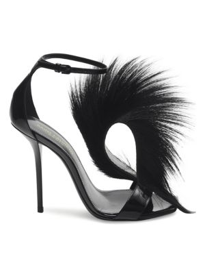 Pierre Feather Leather T-Strap Sandals