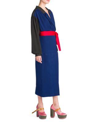 Enver Colorblock Wrap Dress