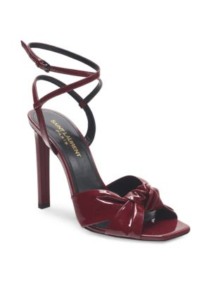 Amy Patent Leather Bow Ankle-Strap Sandals
