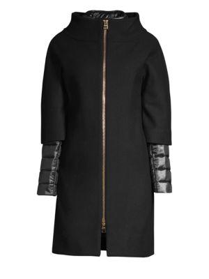 Zip-Front Wool Coat